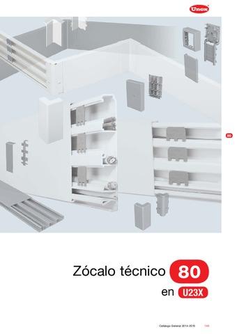 Unex - Zócalo técnico 80 en U23X color aluminio