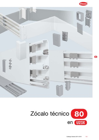 Unex - Zócalo técnico 80 en U23X color blanco